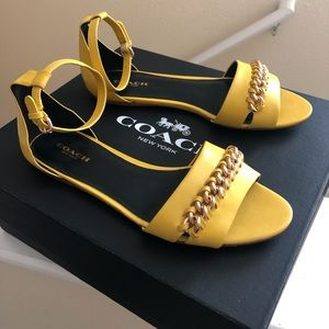 Coach Yellow Leather Seabreeze Sandals 7